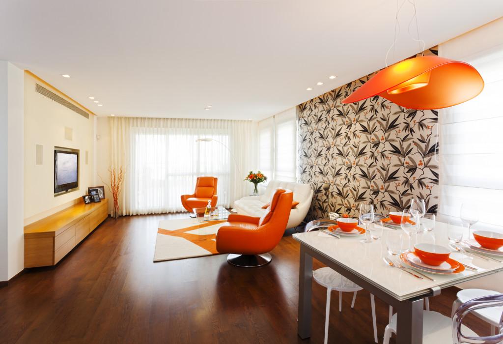 orange living room interior