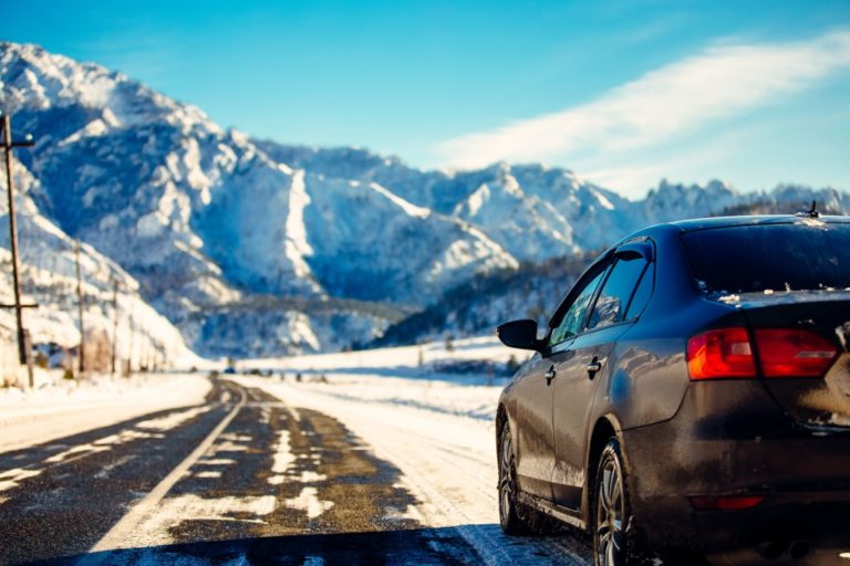 snow covered mountain road