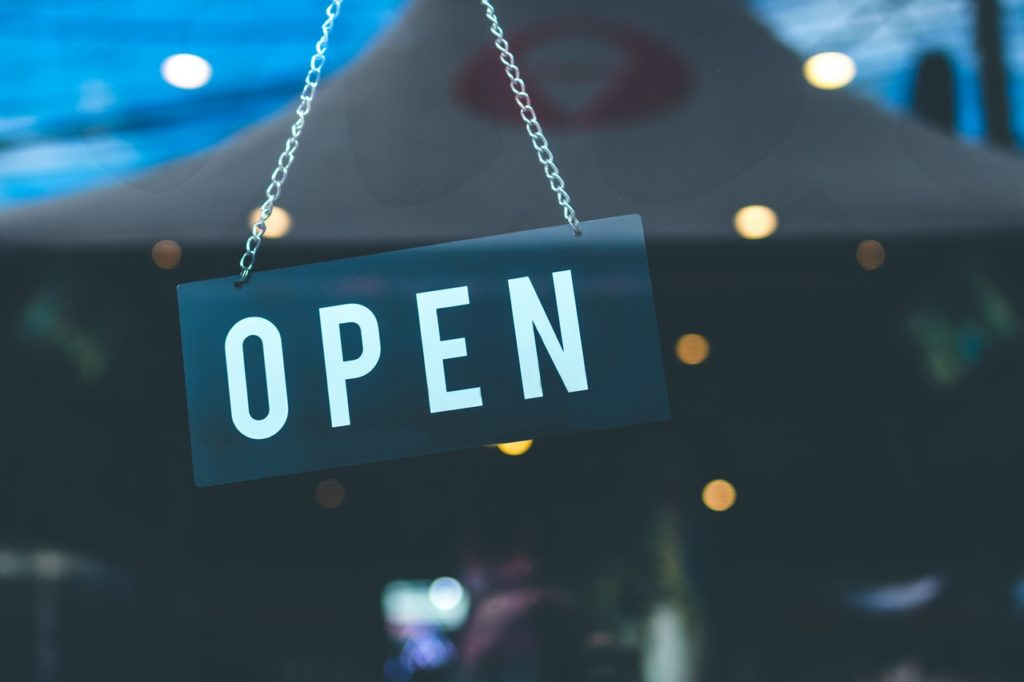 open sign at a store