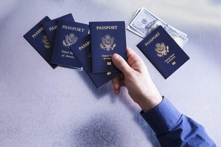 A hand holding a blue passport