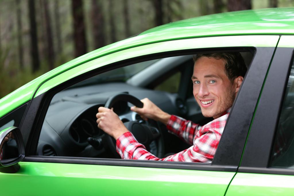 a person driving a car